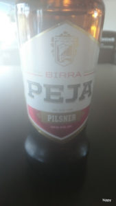 Peja, Kosovo beer. Foggy phone lens