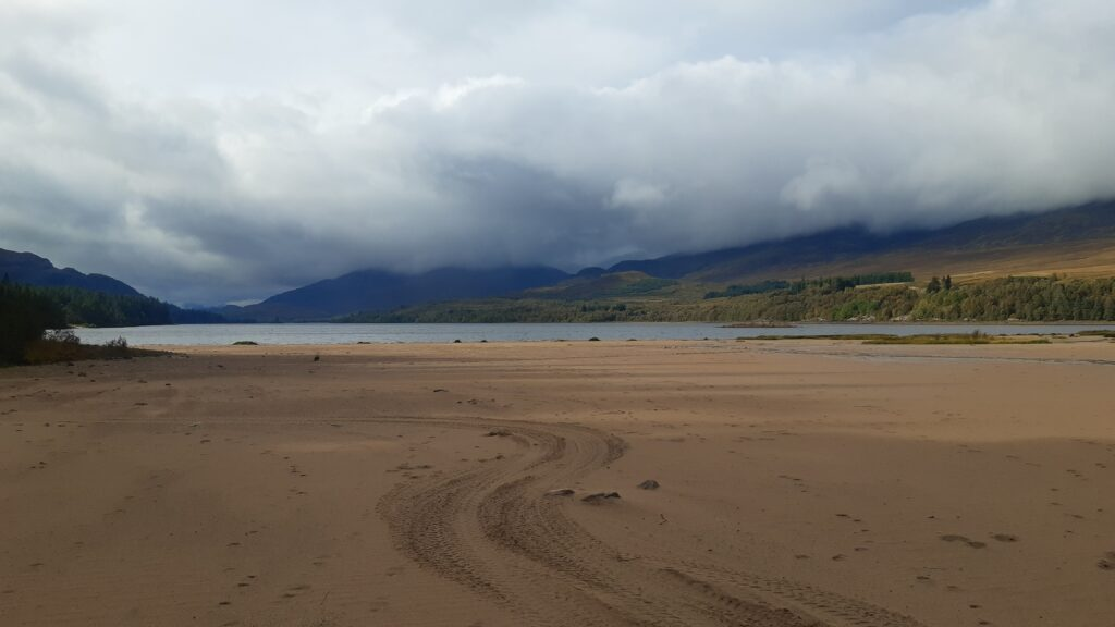 Sandy beach on Loch Laggan