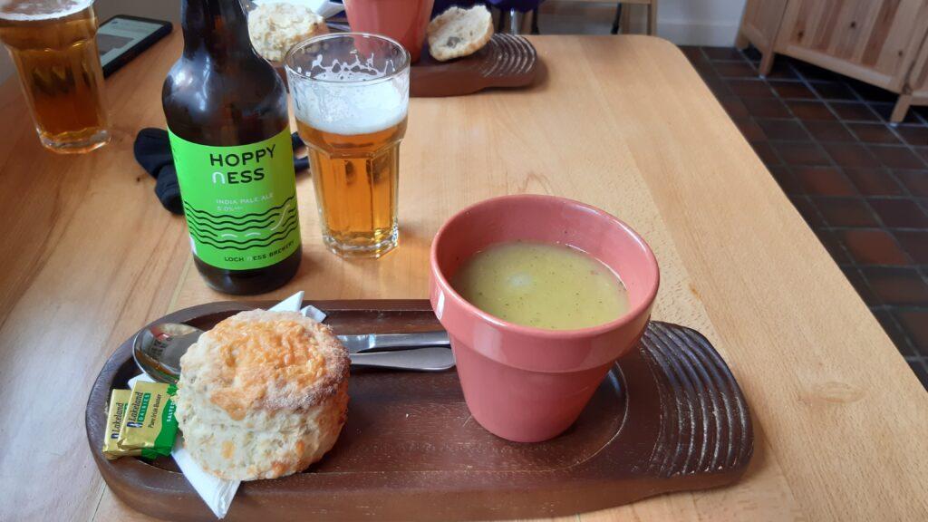 Pea & garlic soup, scone, Hoppy Ness beer