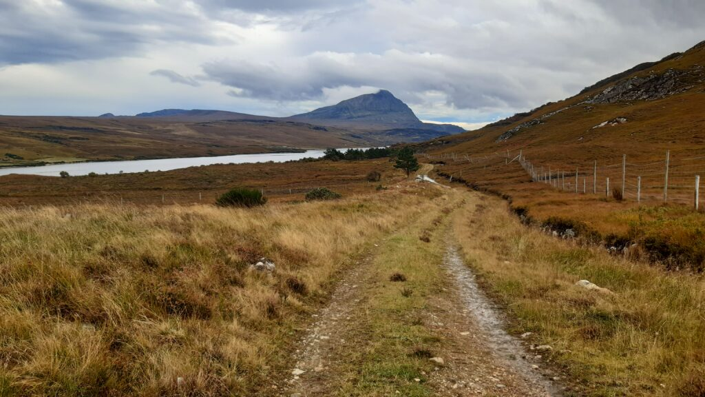 View of Ben Hope from farm track just off A838 detour