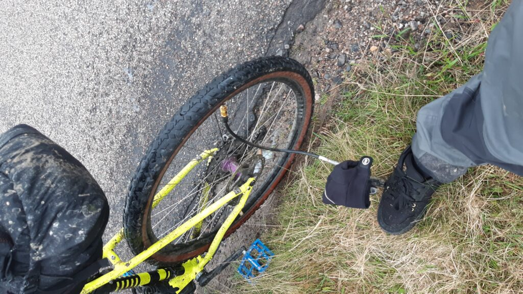The only puncture for the entire route. Dynaplug worked well.